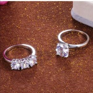 Silver engagement wedding promise ring